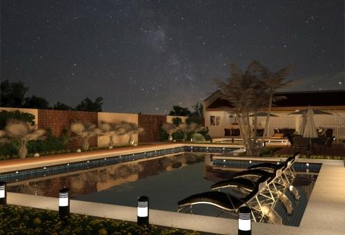 Vista piscina-área gourmet Noturna